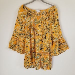 Fever Mustard Boho Off Shoulder Blouse Top 1X